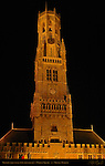 Belfort Bell Tower 1240, North Side at Night, Market Square, Bruges, Brugge, Belgium