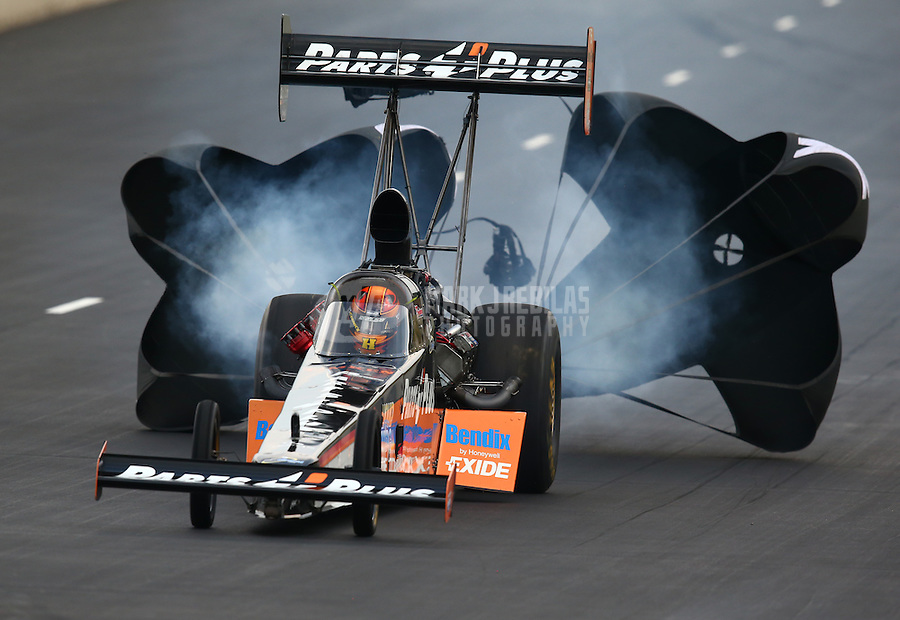 Jul. 19, 2014; Morrison, CO, USA; NHRA top fuel driver Clay Millican during qualifying for the Mile High Nationals at Bandimere Speedway. Mandatory Credit: Mark J. Rebilas-