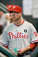 Philadelphia Phillies pitcher Roy Halladay #34 in the dugout during the Major League Baseball game against the Houston Astros at Minute Maid Park in Houston, Texas on September 12, 2011. Houston defeated Philadelphia 5-1.  (Andrew Woolley/Four Seam Images)