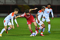 Blackpool's Jordan Lawrence-Gabriel battles with Accrington Stanley's Joe Maguire<br /> <br /> Photographer Dave Howarth/CameraSport<br /> <br /> EFL Trophy Northern Section Group G - Accrington Stanley v Blackpool - Tuesday 6th October 2020 - Crown Ground - Accrington<br />  <br /> World Copyright © 2020 CameraSport. All rights reserved. 43 Linden Ave. Countesthorpe. Leicester. England. LE8 5PG - Tel: +44 (0) 116 277 4147 - admin@camerasport.com - www.camerasport.com