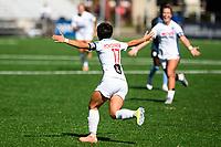 MONTCLAIR, NJ - OCTOBER 3: Kumi Yokoyama #17 of the Washington Spirit celebrates her goal during a game between Washington Spirit and Sky Blue FC at MSU Soccer Park at Pittser Field on October 3, 2020 in Montclair, New Jersey.
