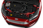 Car Stock 2015 Ford Focus Titanium 5 Door Hatchback Engine high angle detail view