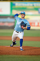 Burlington Royals starting pitcher Nolan Watson (23) in action against the Pulaski Yankees at Burlington Athletic Park on August 6, 2015 in Burlington, North Carolina.  The Royals defeated the Yankees 1-0. (Brian Westerholt/Four Seam Images)