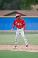 GCL Phillies West second baseman Christian Valerio (13) leads off second base during a game against the GCL Blue Jays on August 7, 2018 at Bobby Mattick Complex in Dunedin, Florida.  GCL Blue Jays defeated GCL Phillies West 11-5.  (Mike Janes/Four Seam Images)