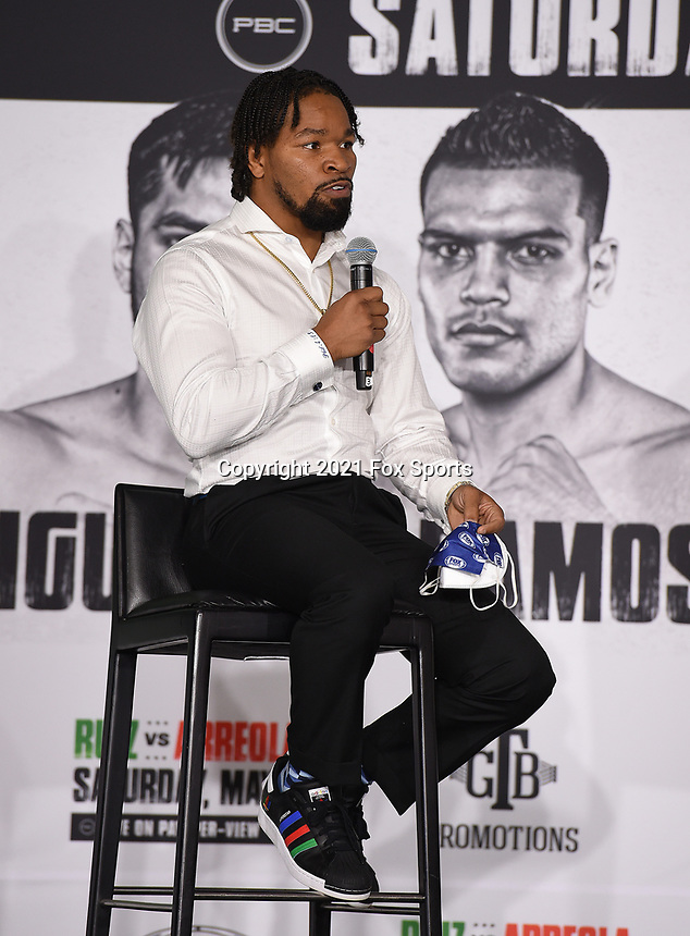 LOS ANGELES, CA - APRIL 29: Shawn Porter attends the undercard press conference for the Andy Ruiz Jr. vs Chris Arreola Fox Sports PBC Pay-Per-View in Los Angeles, California on April 29, 2021. The PPV fight is on May 1, 2021 at Dignity Health Sports Park in Carson, CA. (Photo by Frank Micelotta/Fox Sports/PictureGroup)