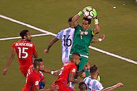 Action photo during the match Argentina vs Chile corresponding to the Final of America Cup Centenary 2016, at MetLife Stadium.<br /> <br /> Foto durante al partido Argentina vs Chile cprresponidente a la Final de la Copa America Centenario USA 2016 en el Estadio MetLife , en la foto:Claudio Bravo de Chile<br /> <br /> <br /> 26/06/2016/MEXSPORT/JAVIER RAMIREZ