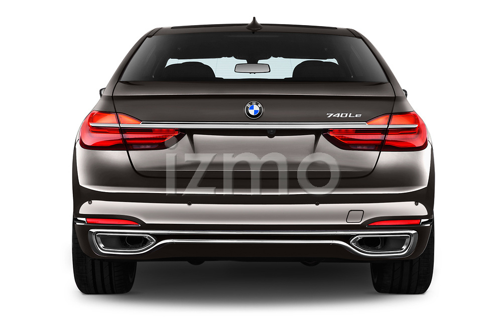 Straight rear view of 2018 BMW 7-Series-Plug-In-Hybrid 740Le-iPerformance 4 Door Sedan Rear View  stock images