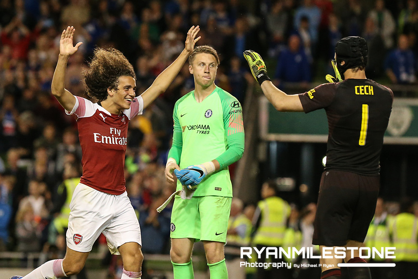 Mattéo Guendouzi of Arsenal celebrates with Petr Cech after  winning the penalty shootout during the International Champions Cup Game between Arsenal and Chelsea at the Aviva Stadium, Dublin. Photo By Michael P Ryan.