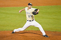 Wake Forest Demon Deacons relief pitcher Michael Dimock #23 in action against the Miami Hurricanes at NewBridge Bank Park on May 25, 2012 in Winston-Salem, North Carolina.  The Hurricanes defeated the Demon Deacons 6-3.  (Brian Westerholt/Four Seam Images)