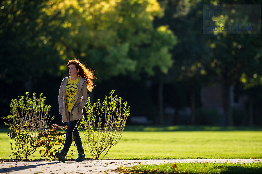 Oct. 8, 2013; A student walks across South Quad. Photo by Barbara Johnston/University of Notre Dame
