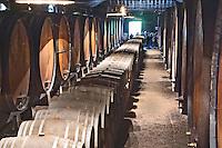 Oak barrel aging and fermentation cellar. The Periquita cellar. JM Jose Maria da Fonseca, Azeitao, Setubal, Portugal