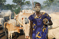 SOUTH SUDAN Bahr al Ghazal region , Lakes State, village Yeri cattle camp near Rumbek, with ash smeared Dinka warrior with Zebu cow, shepherd Wai Bol / SUED-SUDAN  Bahr el Ghazal region , Lakes State, Dorf Yeri, mit Asche beschmierte Dinka Krieger mit Zebu Rindern im cattle camp bei Rumbek, Hirte Wai Bol