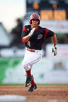 Batavia Muckdogs second baseman Mike Garzillo (11) running the bases during the first game of a doubleheader against the Mahoning Valley Scrappers on August 17, 2016 at Dwyer Stadium in Batavia, New York.  Mahoning Valley defeated Batavia 10-3. (Mike Janes/Four Seam Images)