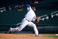Mesa Solar Sox pitcher David Garner (46) delivers a pitch during an Arizona Fall League game against the Glendale Desert Dogs on October 14, 2015 at Sloan Park in Mesa, Arizona.  Glendale defeated Mesa 7-6.  (Mike Janes/Four Seam Images)