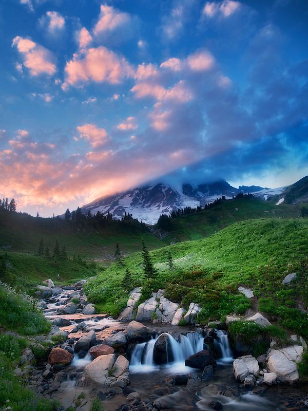 Edith Creek and Mt. Rainier with sunset. Mt. Rainier National Park, Washington