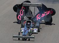 Feb. 24, 2013; Chandler, AZ, USA; NHRA top fuel dragster driver Leah Pruett during the Arizona Nationals at Firebird International Raceway. Mandatory Credit: Mark J. Rebilas-