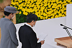 Japan's Emperor Naruhito delivers his remarks with Empress Masako during the memorial service for the war dead of World War II marking the 75th anniversary in Tokyo, Japan on August 15, 2020. (Photo by AFLO)