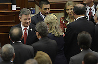 BOGOTA -COLOMBIA. 20-07-2014. Juan Manuel Santos, presidente de Colombia, saluda a los senadores y asistentes al inicio de la instalación del Congreso de la República para la legislatura 2014-18./ Juan Manuel Santos, president of Colombia, cheers to the senators ans public at the begining of the installtion of the Congress of the Republic to the legislature 2014-18 . Photo: VizzorImage/ Gabriel Aponte / Staff