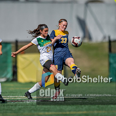 1 September 2019: University of Vermont Catamount Midfielder/Defender Karen Wallace, a Freshman from Tinton Falls, NJ, battles Merrimack College Warrior Midfielder Bridget Austin, a Junior from East Greenbush, NY, in Game 3 of the TD Bank Women's Soccer Classic at Virtue Field in Burlington, Vermont. The Lady Warriors rallied in the second half to defeat the Catamounts 2-1. Mandatory Credit: Ed Wolfstein Photo *** RAW (NEF) Image File Available ***
