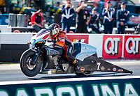 Oct 14, 2019; Concord, NC, USA; NHRA pro stock motorcycle rider Angelle Sampey during the Carolina Nationals at zMax Dragway. Mandatory Credit: Mark J. Rebilas-USA TODAY Sports
