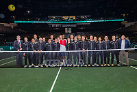 Rotterdam, The Netherlands, 16 Februari 2020, ABNAMRO World Tennis Tournament, Ahoy, Tournament winner Gaël Monfils (FRA) poses with umpires and linespeople<br /> Photo: www.tennisimages.com