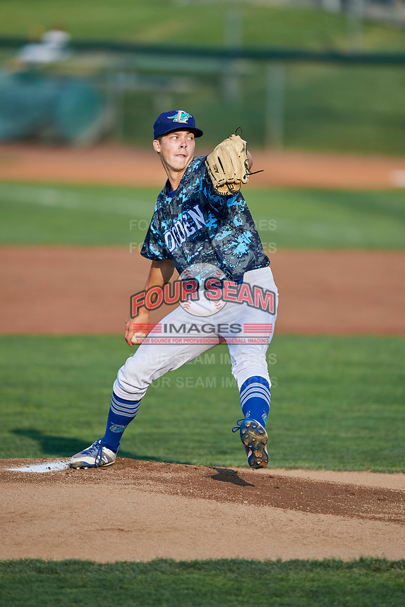 Ogden Raptors starting pitcher Caleb Sampen (51) delivers a pitch during a game against the Orem Owlz at Lindquist Field on August 3, 2018 in Ogden, Utah. The Raptors defeated the Owlz 9-4. (Stephen Smith/Four Seam Images)