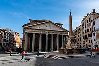 A general view of almost desert Pantheon square during Italy's lockdown due to Covid-19 pandemic. <br /> On May 4th will start the phase 2 of the measures against pandemic, adopted by Italian government, that will allow some construction and factory workers to go back to work . <br /> Rome 30/04/2020 <br /> Photo Andrea Staccioli Insidefoto