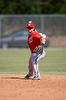 Washington Nationals Angelo La Bruna (9) throws to first base during a minor league Spring Training game against the St. Louis Cardinals on March 27, 2017 at the Roger Dean Stadium Complex in Jupiter, Florida.  (Mike Janes/Four Seam Images)