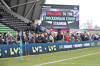 20130309 Copyright onEdition 2013©.Free for editorial use image, please credit: onEdition..Large screen and LV= branded perimeter signage before the LV= Cup semi final match between Harlequins and Bath Rugby at The Twickenham Stoop on Saturday 9th March 2013 (Photo by Rob Munro)..For press contacts contact: Sam Feasey at brandRapport on M: +44 (0)7717 757114 E: SFeasey@brand-rapport.com..If you require a higher resolution image or you have any other onEdition photographic enquiries, please contact onEdition on 0845 900 2 900 or email info@onEdition.com.This image is copyright onEdition 2013©..This image has been supplied by onEdition and must be credited onEdition. The author is asserting his full Moral rights in relation to the publication of this image. Rights for onward transmission of any image or file is not granted or implied. Changing or deleting Copyright information is illegal as specified in the Copyright, Design and Patents Act 1988. If you are in any way unsure of your right to publish this image please contact onEdition on 0845 900 2 900 or email info@onEdition.com