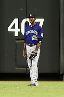 Colorado Rockies outfielder Dexter Fowler #24 during a National League regular season game against the Arizona Diamondbacks at Chase Field on October 3, 2012 in Phoenix, Arizona. Colorado defeated Arizona 2-1. (Mike Janes/Four Seam Images)