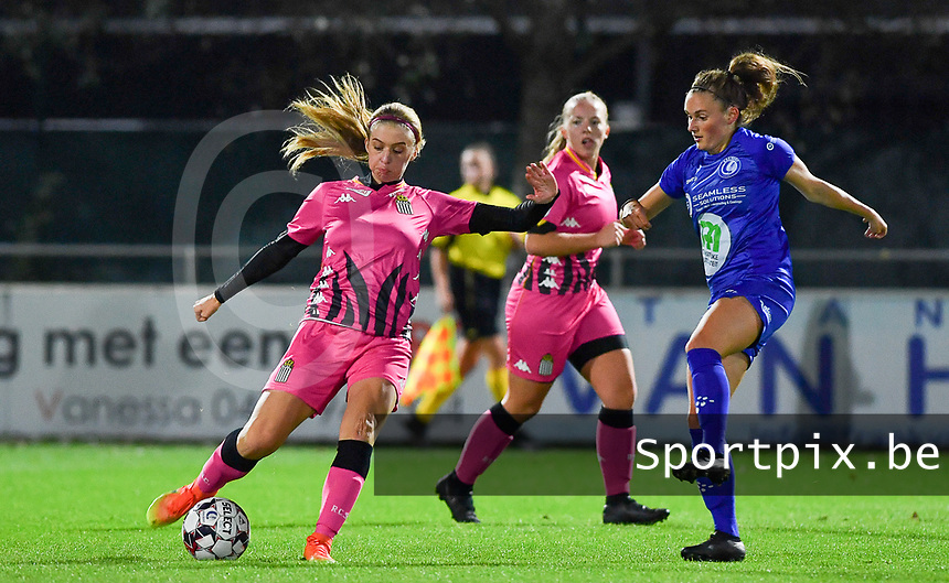 Ludmila Matavkova (9 Charleroi) pictured with Emma Van Britsom (6 Gent) during a female soccer game between  AA Gent Ladies and Sporting Charleroi Feminin on the fifth matchday of the 2020 - 2021 season of Belgian Scooore Womens Super League , friday 16 th of October 2020  in Oostakker , Belgium . PHOTO SPORTPIX.BE | SPP | DAVID CATRY