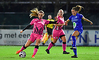 Ludmila Matavkova (9 Charleroi) pictured with Emma Van Britsom (6 Gent) during a female soccer game between  AA Gent Ladies and Sporting Charleroi Feminin on the fifth matchday of the 2020 - 2021 season of Belgian Scooore Womens Super League , friday 16 th of October 2020  in Oostakker , Belgium . PHOTO SPORTPIX.BE   SPP   DAVID CATRY