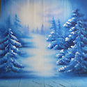 Backdrop featuring natural snowy winter scene outdoors with snow drifts and trees in forest