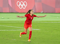 YOKOHAMA, JAPAN - AUGUST 6: Julia Grosso #7 of Canada celebrates during a game between Canada and Sweden at International Stadium Yokohama on August 6, 2021 in Yokohama, Japan.