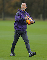 Bob Bradley gives instructions to his players during the Swansea City Training at The Fairwood Training Ground, Wales, UK. Wednesday 16 November 2016