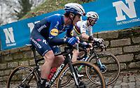 World Champion Julian Alaphilippe (FRA/Deceuninck - QuickStep) & Yves Lampaert (BEL/Deceuninck - QuickStep) up the Kapelmuur / Muur van Geraardsbergen<br /> <br /> 76th Omloop Het Nieuwsblad 2021<br /> ME(1.UWT)<br /> 1 day race from Ghent to Ninove (BEL): 200km<br /> <br /> ©kramon