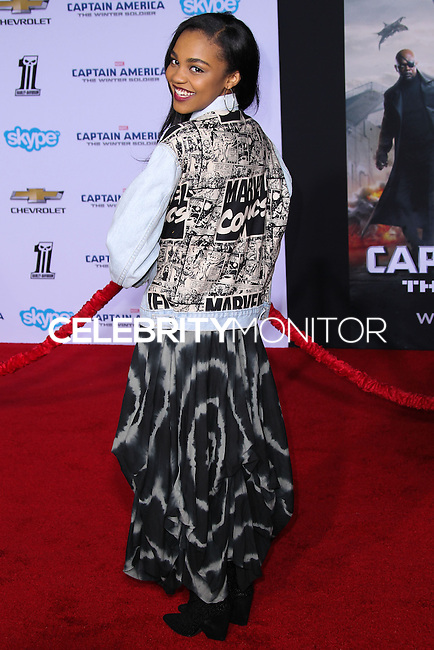 """HOLLYWOOD, LOS ANGELES, CA, USA - MARCH 13: China Anne McClain at the World Premiere Of Marvel's """"Captain America: The Winter Soldier"""" held at the El Capitan Theatre on March 13, 2014 in Hollywood, Los Angeles, California, United States. (Photo by Xavier Collin/Celebrity Monitor)"""