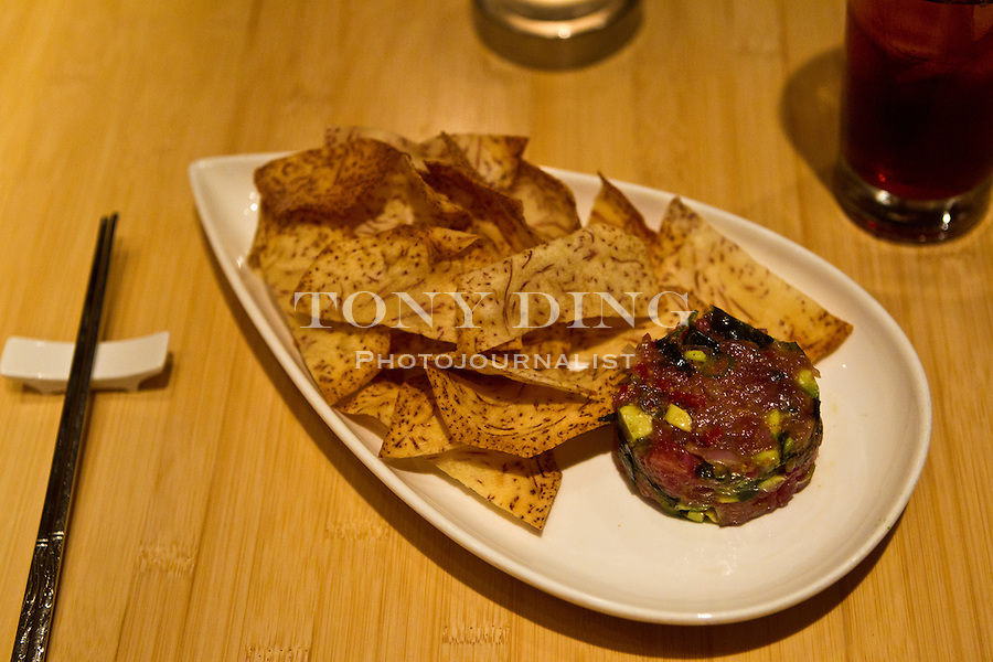 Tuna Tartare with Taro chips ($10) at Pacific Rim, Friday, Sept. 2, 2011 in Ann Arbor, Mich. (Tony Ding for The New York Times)