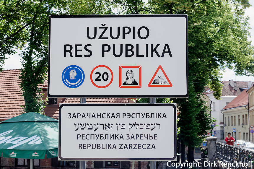 Schild Republik Uzupio in Vilnius, Litauen, Europa, Unesco-Weltkulturerbe
