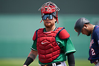 Boston Red Sox catcher Christian Vázquez (7) during a Major League Spring Training game against the Minnesota Twins on March 17, 2021 at JetBlue Park in Fort Myers, Florida.  (Mike Janes/Four Seam Images)