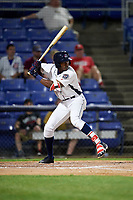 Binghamton Rumble Ponies center fielder Champ Stuart (2) at bat during a game against the Altoona Curve on May 17, 2017 at NYSEG Stadium in Binghamton, New York.  Altoona defeated Binghamton 8-6.  (Mike Janes/Four Seam Images)