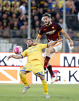 Calcio, Serie A: Frosinone vs Roma. Frosinone, stadio Comunale, 12 settembre 2015.<br /> Frosinone's Federico Dionisi, left, and Roma's Kostas Manolas fight for the ball during the Italian Serie A football match between Frosinone and Roma at Frosinone Comunale stadium, 12 September 2015.<br /> UPDATE IMAGES PRESS/Isabella Bonotto