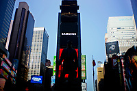 NEW YORK, NEW YORK - MARCH 04: Samsung logo its seen on a screen in Times Square on March 04, 2021 in New York. Samsung Electronics Co Ltd is considering four sites en United States, for a new $17 billion chip plant. (Photo by Emaz/VIEWpress)