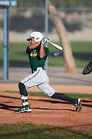 Lorenzo Martinez (43), from Farmers Branch, Texas, while playing for the Athletics during the Under Armour Baseball Factory Recruiting Classic at Red Mountain Baseball Complex on December 28, 2017 in Mesa, Arizona. (Zachary Lucy/Four Seam Images)