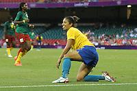 CRISTIANE of Brazil celebrates scoring the fourth goal - Brazil Women vs Cameroon Women - Womens Olympic Football Tournament London 2012 Group E at the Millenium Stadium, Cardiff, Wales - 25/07/12 - MANDATORY CREDIT: Gavin Ellis/SHEKICKS/TGSPHOTO - Self billing applies where appropriate - 0845 094 6026 - contact@tgsphoto.co.uk - NO UNPAID USE.