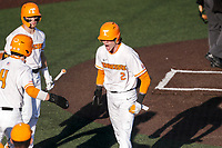 Tennessee Volunteers second baseman Max Ferguson (2) celebrates scoring a run against the Arkansas Razorbacks on May 14, 2021, on Robert M. Lindsay Field at Lindsey Nelson Stadium in Knoxville, Tennessee. (Danny Parker/Four Seam Images)