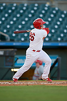 Palm Beach Cardinals catcher Alexis Wilson (26) at bat during a Florida State League game against the Daytona Tortugas on April 11, 2019 at Roger Dean Stadium in Jupiter, Florida.  Palm Beach defeated Daytona 6-0.  (Mike Janes/Four Seam Images)