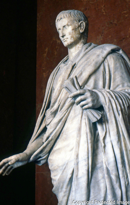 Greek Art:  Augustus.  Marble statue--2nd Century.  Louvre.