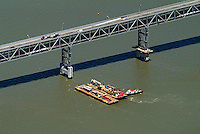 aerial photograph of maintenance barges Richmond  Bridge