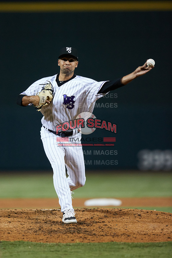 Winston-Salem Dash relief pitcher Ty Madrigal (20) in action against the Bowling Green Hot Rods at Truist Stadium on September 7, 2021 in Winston-Salem, North Carolina. (Brian Westerholt/Four Seam Images)